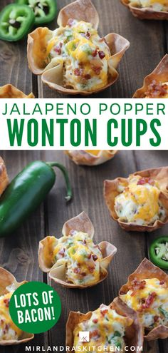 What an appetizer! Our family loves this simple recipe for jalapeno popper wonton cups. They are full of cream cheese, bacon and sharp cheddar. There is enough jalapeno for some spice but not too much to blow your socks off. And the little wonton wrapper cups are such fun! Serve this at your next holiday BBQ or just for fun at a family movie night. #appetizer #cheese #bacon #family #easy Wonton Recipes, Spicy Recipes, Healthy Dinner Recipes, Cooking Recipes, Wanton Wrapper Recipes, Game Recipes, Asian Recipes, Healthy Snacks, Recipies