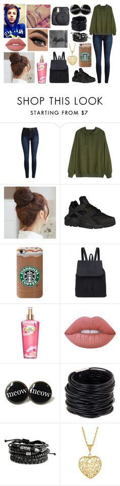 """STOP EXISTING AND START LIVING"" by jblover-1fan on Polyvore featuring Pin Show, NIKE, Victoria's Secret, Lime Crime and Saachi"