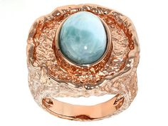 Timna Jewelry Collection(Tm) Cabochon Larimar Copper Ring