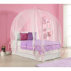 Create a princess wonderland in your kid's room with the unique DHP Metal Twin Carriage Bed. Its whimsical and scrolled lines create a warm, classic look that will easily coordinate with all different types of room decor.