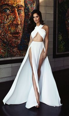 ded8f9d626 He s Mine White Sleeveless Cross Wrap Cut Out Halter Double Slit Maxi Dress