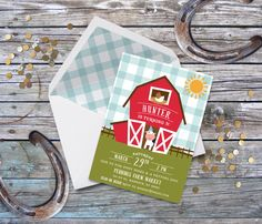Barnyard Birthday Party Invitation with Free Shipping or DIY Printable  | Farm birthday invitation | Petting Zoo  | Pony Ride by SprinklesByGracie on Etsy https://www.etsy.com/listing/268494354/barnyard-birthday-party-invitation-with