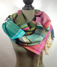 Shirley // Handwoven Rose, Emerald & Scuba Blue EXTRA LONG Scarf // Woven Accessory // Bold Stripe Scarf // Vibrant Pink and Green Neckwear by pidgepidge on Etsy