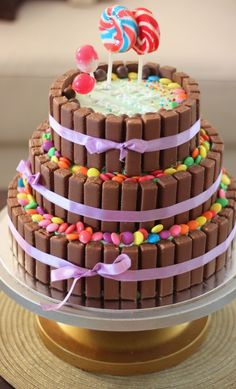 Excellent Photo of Tiered Cake Recipe Birthday . Tiered Cake Recipe Birthday 3 Tier Chocolate Birthday Cake Kitkat Cake With The Kitkats Basic Sponge Cake Recipe, Sponge Cake Recipes, Oreo Cake Recipes, Frosting Recipes, Vegan Birthday Cake, Cakes Plus, Sallys Baking Addiction, Candy Cakes, Tiered Cakes