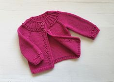 Pink merino wool baby cardigan, knitted lace edging, girl's sweater size 3 - 6 months, woollen hand knitted cardigans, knit girls clothes