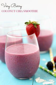 very berry coconut chia smoothie | Blahnik Baker