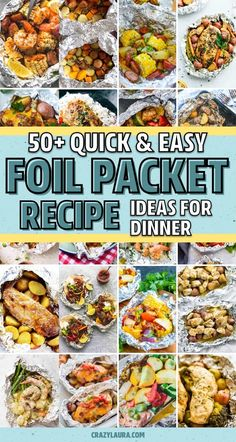 Best Foil Packet Recipes For The Grill & Oven In 2020 - Crazy Laura - If you need a quick and easy meal for the family or next time you're camping… these awesome foil packet recipes, for both the grill and oven, will help you whip up dinner in no time! Tin Foil Dinners, Foil Packet Dinners, Foil Pack Meals, Foil Packets, Grilling Recipes, Cooking Recipes, Healthy Recipes, Healthy Summer Snacks, Healthy Nutrition