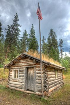 "Old Ranger Station at Alta, Montana.  The ""soddy"" type log structure was common housing for settlers, and later adapted by Forest Service.  You can rent these cabins for less than $15.00 per night all over Montana.  Many are remote and require you hike, float via a river, or take horses back into the wilderness area they are located.  Some amazing scenery along the way with lots of wildlife!  By amazing photographer:  ©Mark Mesenko"