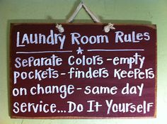 Laundry Rules Funny Hand Craft Wood Sign Primitive HP   eBay