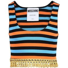Moschino Sleeveless T-shirt (12,300 DOP) ❤ liked on Polyvore featuring tops, t-shirts, orange, fringe tops, cotton t shirts, zipper t shirt, fringe tee and sleeveless tshirt