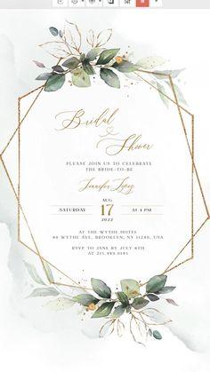 Simple Wedding Invitations, Floral Wedding Invitations, Bridal Shower Invitations, Invitation Background, Floral Invitation, Invite, Wedding Templates, Wedding Invitation Templates, Wedding Cards