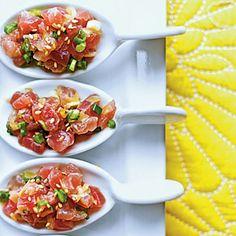 Tuna Tartare with Ginger and Toasted Sesame - 8 Terrific Tuna Recipes - Coastal Living Tuna Recipes, Wrap Recipes, Seafood Recipes, Asian Recipes, Appetizer Recipes, Cooking Recipes, Healthy Recipes, Appetizers, Fish Dishes