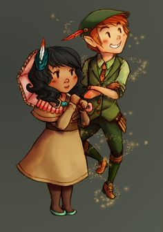 Cute modern day Peter Pan piece. Love his hat/vest combo!
