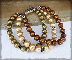 MiShel Designs Triple Strand Pearl and Bali Silver Bracelet - Inspiration