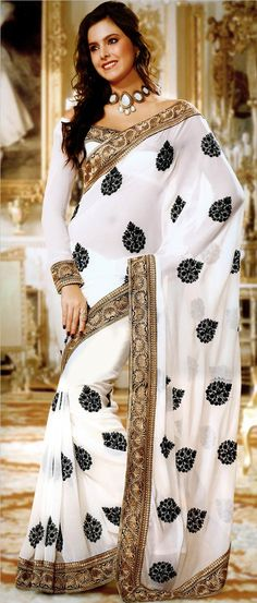 #White Faux #Chiffon #Saree with Blouse @ $67.69