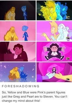 Steven Universe: Mr Greg // Reunited parallel - Pearl and Greg - Yellow and Blue Diamond Steven Universe Theories, Steven Universe Funny, Lapidot, Thing 1, Fanart, Cartoon Network, Anime Manga, Nerdy, Rock