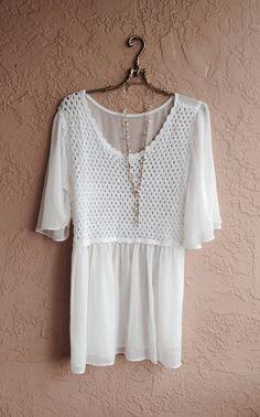 Cape sleeve bohemian romantic crochet blouse