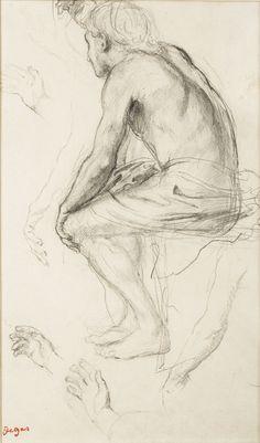 Edgar Degas, Homme assis une main au dessus de la tête, bras, Crayon noir, © MuMa Le Havre / Charles Maslard