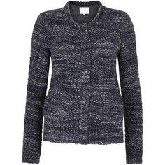 Womens Smart Jackets IRO Carene Navy Bouclé Jacket (3.125 DKK) ❤ liked on Polyvore featuring outerwear, jackets, navy blue jacket, navy jacket, blue jackets and iro jacket