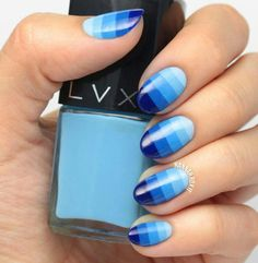 Do you love ombre nail art? Do you like to apply nail polish on your nails? Use your nails as your canvas with this ombre technique. You can apply these nail designs on your party. Blue Ombre Nails, Striped Nails, Ombre Color, Gradient Nails, Pretty Nail Colors, Pretty Nail Art, Ombre Nail Designs, Nail Art Designs, Nails Design
