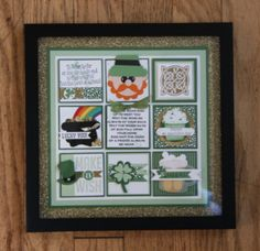We are having so much fun with the Framed Art Stamped Collage Samplers thingies. They make great gifts, home decor and just plain old fun. We are doing them almost monthly basis and the next collage is on Monday, March. Holiday Greeting Cards, Fall Cards, St Patrick's Day Crafts, Holiday Crafts, Holiday Fun, Collage Frames, Collages, St Patricks Day Cards, Calendar Design