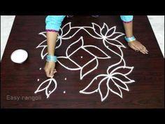 lotus flower muggulu designs with dots Free Hand Rangoli Design, Small Rangoli Design, Rangoli Patterns, Rangoli Kolam Designs, Rangoli Ideas, Rangoli Designs With Dots, Kolam Rangoli, Beautiful Rangoli Designs, Simple Rangoli