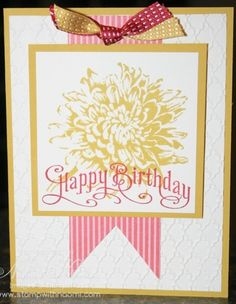 Blooming with Kindness is a great set to begin card making with since it comes with an image and greetings. On my card I actually used the Happy Birthday form Perfectly Penned. I got the original card as a swap from Convention, it was designed by Susan Rodgers.