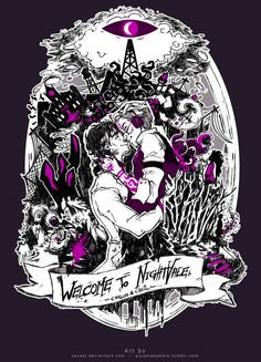 The circular composition paired with the use of the ribbon gives this a gothic era feel that in juxtaposition contrasts with the modern imagery and concept. I love the romantic embrace surrounded by architecture and other decorations, all topped off with a creepy purple ooze.