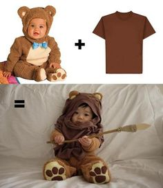 DIY ewok costume out of bear costume + brown tee.