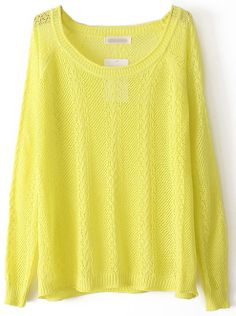 Jersey hueca manga larga-Amarillo EUR€18.25