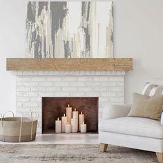 Empty Fireplace Ideas, Rustic Fireplace Mantels, Brick Fireplace Makeover, Fireplace Shelves, Fireplace Design, Diy Faux Fireplace, Faux Mantle, Decorating Fireplace Mantels, Mantle Ideas