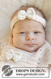 """Banda para el pelo a ganchillo DROPS con lazo en """"BabyAlpaca Silk"""". Talla prematuro - 4 años ~ DROPS Design"""