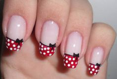 Minnie Mouse Tip Nails