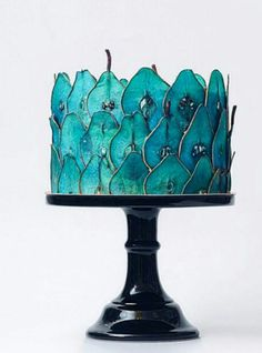 Wedding Cake Recipes Cool Wedding Cakes - Blue Wedding Cake - Tortik Annushka - From multi-tiered metallic cakes to whimsical confections dripping with chocolate ganache, prepare to be amazed! Gorgeous Cakes, Pretty Cakes, Cute Cakes, Amazing Cakes, Cool Wedding Cakes, Wedding Desserts, Wedding Cake Recipes, Deco Fruit, Metallic Cake