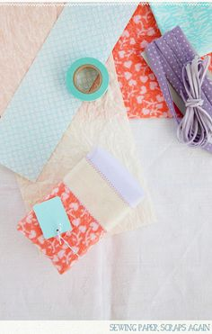 Paper scraps sewn together create some really beautiful unique wrapping paper. Great idea!