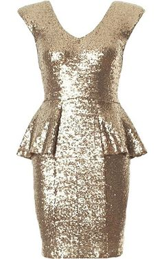 Peplum Twinkle Dress: Features an elegant double V-neckline, padded shoulders for added durability, sequin encrusted fabric with a pretty peplum waist, and a centered rear zip closure to finish. Sequin Dress, Peplum Dress, Bodycon Dress, Bronze Dress, Cute Fashion, Fashion Styles, Fashion Dresses, Kinds Of Clothes, Going Out Outfits