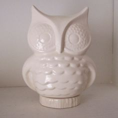 LOVE... Ceramic Owl Planter Vintage Design White by fruitflypie on Etsy, $39.99