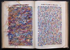 Lauren DiCioccio's embroidered pieces dealing with literature and the use of cross stitch in books