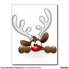 Jeter un coup d'oeil drôle de renne cartes postales