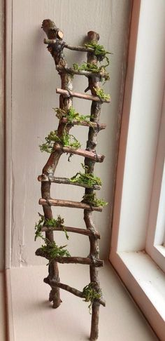 Rickety Ladder Fairy Ladder Handcrafted by Olive Fairy Accessories Fairy House Fairy Door Fairy Window Miniatures Garten Fairy Village, Fairy Tree, Fairy Garden Furniture, Fairy Garden Houses, Twig Furniture, Fairy Gardening, Gardening Tips, Cheap Furniture, Container Gardening
