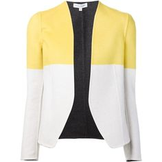 Narciso Rodriguez panelled blazer ($4,625) ❤ liked on Polyvore featuring outerwear, jackets, blazers, white, wool jacket, panel jacket, white blazer, white wool blazer and white wool jacket