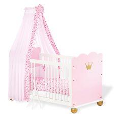 Chambre de Bébé en Épicéa Massif Blanc Rose et Or Princesse (Lit + ...