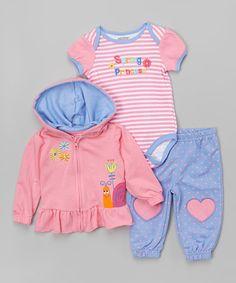 Another great find on #zulily! Begonia Pink & Baja Blue 'Spring Princess' Bodysuit Set - Infant #zulilyfinds
