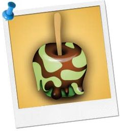 Camouflage Chocolate Apples - 8 Medium Green (Granny Smith) Apples 12 oz Package of White Chocolate Chips 8 oz Package of Semi-Sweet Chocolate Chips Green, Yellow, & Blue Food Coloring 8 Popsicle Sticks