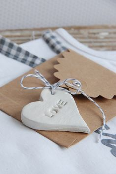 love gift tag - clay, stencil and lots of love!