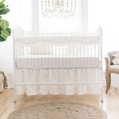 Classic And Traditional This Sweet White Linen Crib Bedding Collection Is Perfect For A Baby Girls Nursery Linen Baby Bedding Is Sweet And Elegant