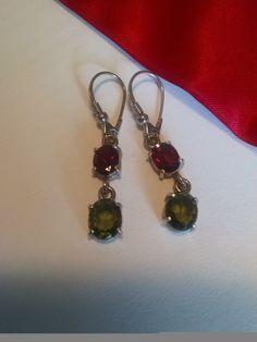 Long Vintage Estate Gem Stone Earrings Red Garnet Green Peridot Sterling Silver by Glamaroni on Etsy