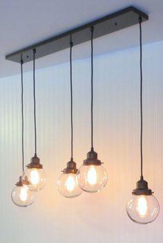 Chandelier Luminaire rectangulaire - Five Globe SUSPENSION Light Flush Glass Farmhouse Moderne Plafond TrackGoods - lustre Chandelier Lighting Fixtures, Kitchen Island Lighting, Farmhouse Lighting, Home Lighting, Room Lights, Light Fixtures, Globe Pendant Light, Dining Room Lighting, Chandelier Lighting