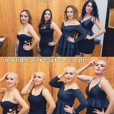 Bald Look, Before And After Haircut, Bald Girl, Bald Women, People Sitting, Prom Dresses, Formal Dresses, Shaving, Hair Cuts