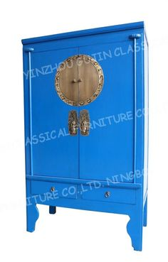 Wonderful Antique Reproduction Chinese Wedding Cabinet Aspen Wood Blue Color